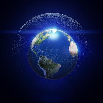 Illustration 3d de la planète terre détaillée avec maillage de polygone numérique