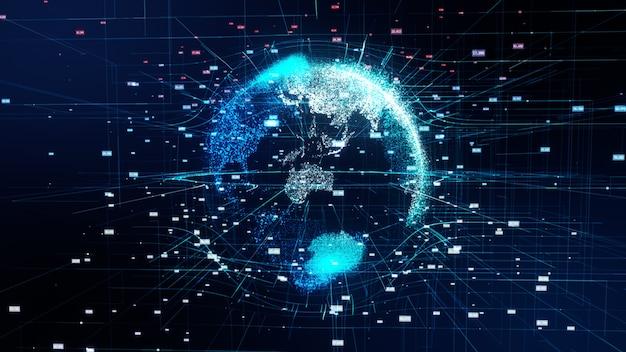 Illustration 3d de la planète virtuelle détaillée de la terre. monde technologique du globe numérique