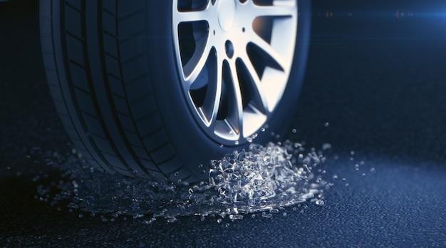 Illustration 3d de pneu avec des éclaboussures d'eau