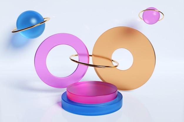 Illustration 3d d'un podium de cercle coloré se tenir sur le fond d'une composition géométrique.