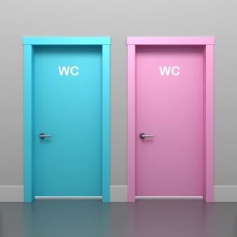 Illustration 3d de la porte rose et bleue dans les toilettes