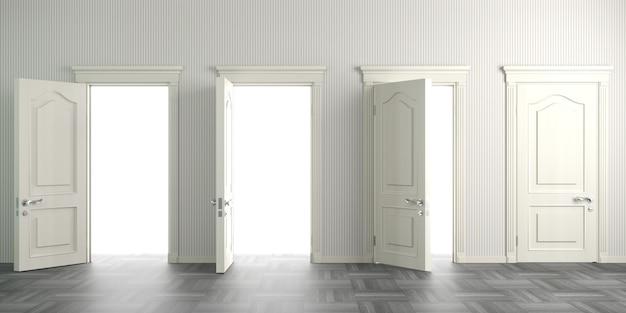 Illustration 3d portes classiques blanches dans le hall ou le couloir. intérieur de fond.