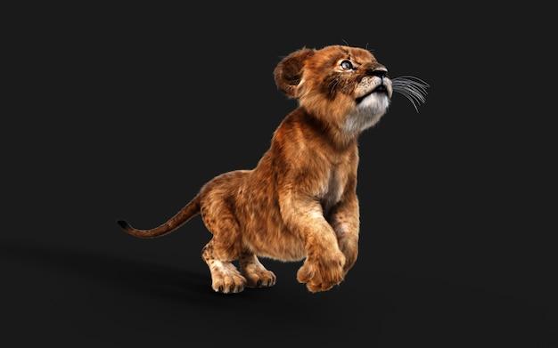 Illustration 3d portrait de petit lionceau isolé sur fond sombre avec un tracé de détourage.