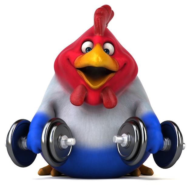 Illustration 3d de poulet drôle