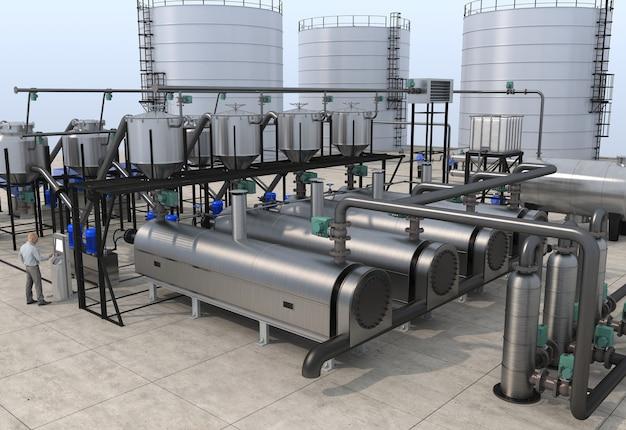 Illustration 3d de la raffinerie de pétrole