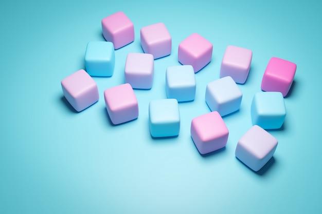 Illustration 3d de rangées de chewing-gum multicolores dans des couleurs dégradées.