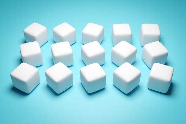 Illustration 3d de rangées de cube blanc.