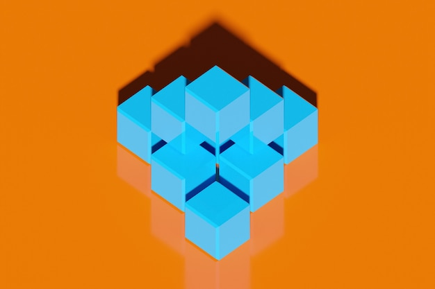 Illustration 3d de rangées de cube bleu