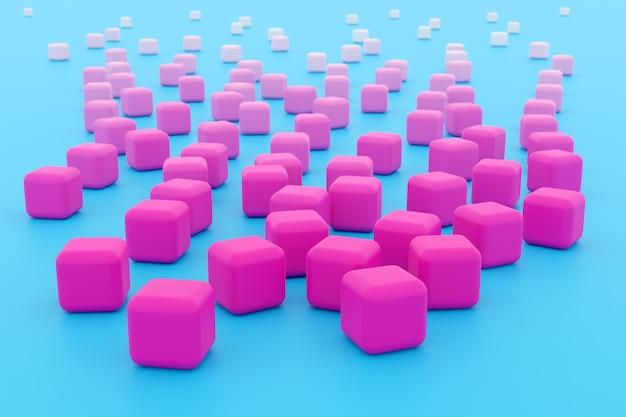 Illustration 3d de rangées de cube rose. ensemble de chewing-gum sur fond bleu.