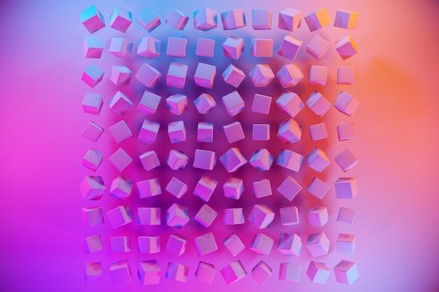 Illustration 3d de rangées de cubes roses sous une couleur néon bleu-rose. motif de parallélogramme.