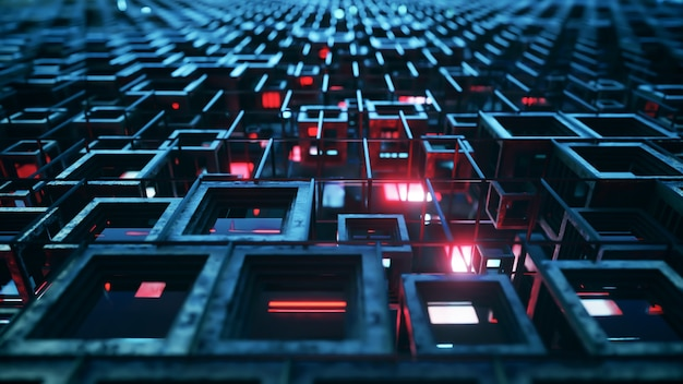 Illustration 3d de rangées de cubes en verre coloré flottant à travers le prog, créant une texture de technologie de fond graphique abstrait. couleur rouge bleu