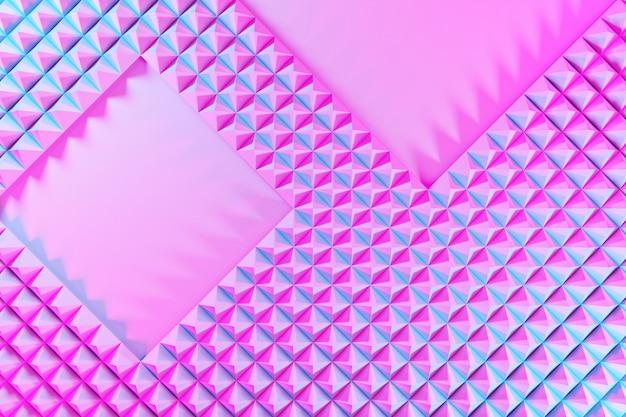 Illustration 3d de rangées de polygones roses