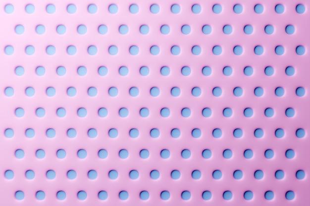 Illustration 3d de rangées de rond bleu, sous une couleur rose