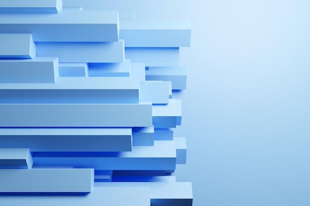 Illustration 3d de rayures bleues de la même taille tournées.