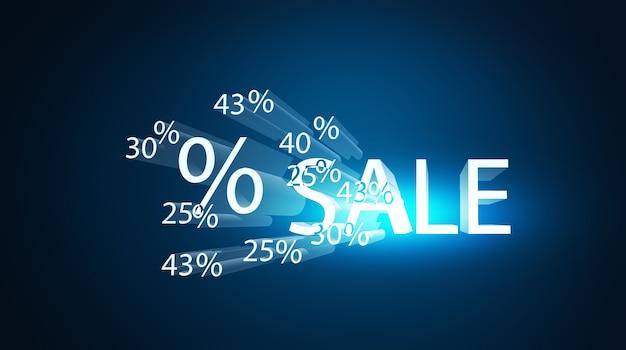 Illustration 3d de réduction de pourcentage de vente