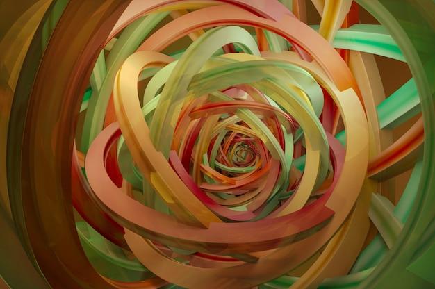 Illustration 3d. rendu 3d abstrait de lignes torsadées. conception de fond moderne