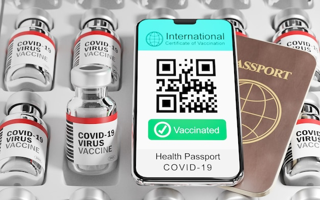 Illustration 3d rendu du smartphone mobile certificat international de vaccination échantillon d'écran de code qr texte vacciné et livre de passeport et bouteille de vaccin sur le plateau