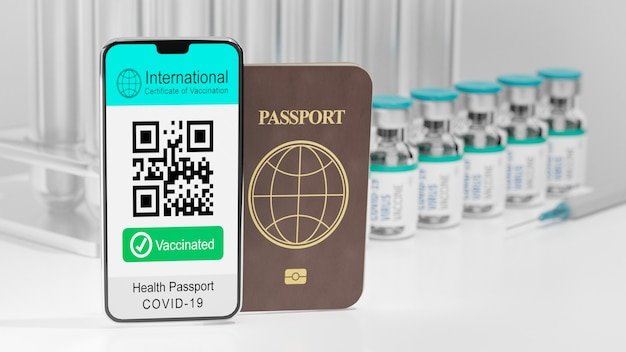 Illustration 3d rendu du smartphone mobile certificat international de vaccination échantillon d'écran code qr texte vacciné et livre de passeport sur fond de bouteille de vaccin