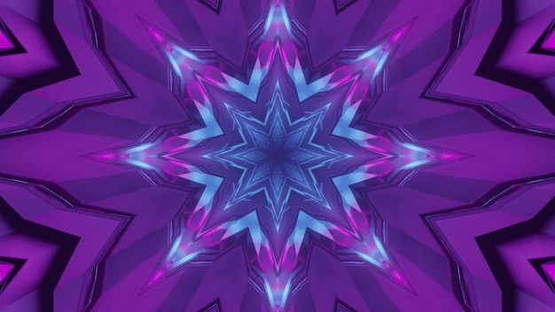 Illustration 3d de résumé du tunnel géométrique brillant avec des lumières bleues et violettes