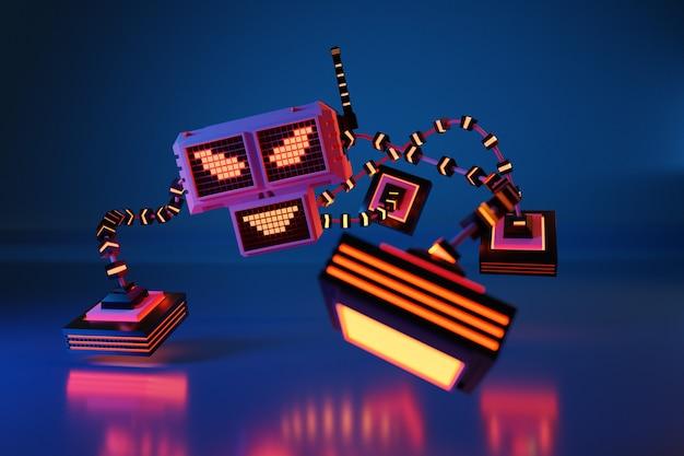 Illustration 3d d'un robot qui ressemble à un animal avec quatre pattes, des yeux sournois et un sourire