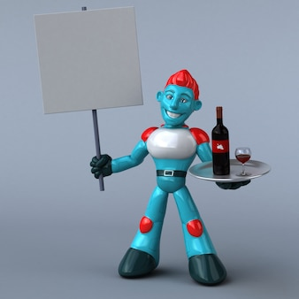 Illustration 3d de robot rouge