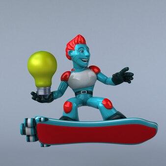 Illustration 3d de robot rouge