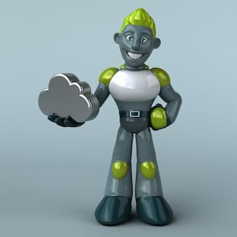 Illustration 3d de robot vert