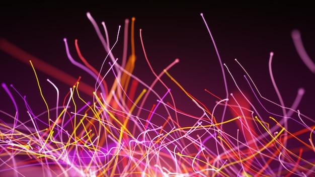 Illustration 3d rotation abstraite de lignes courbes colorées de fils de fibre optique et de particules autour de l'appareil photo