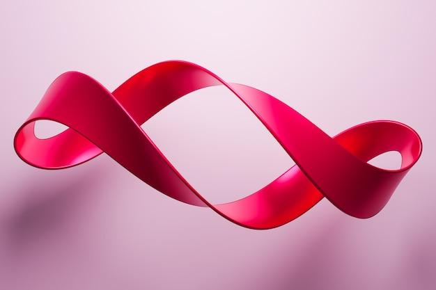 Illustration 3d d'un ruban rouge vole, rayures stéréo de différentes couleurs.