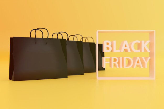 Illustration 3d. sacs à provisions du vendredi noir sur fond jaune . copiez l'espace pour le texte