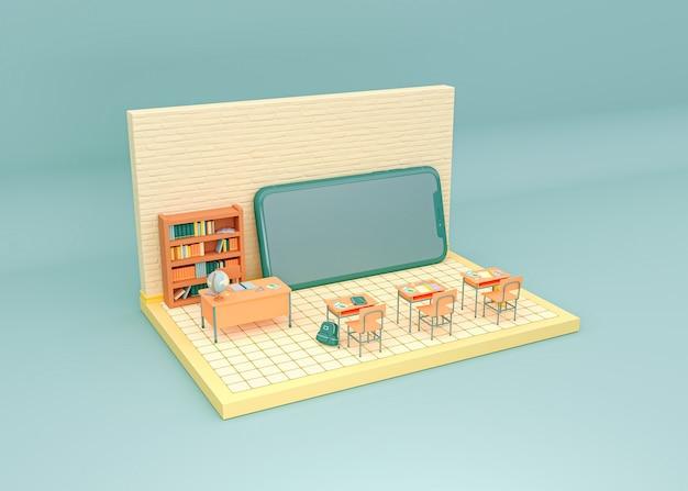 Illustration 3d. salle de classe avec un smartphone à l'avant. concept d'apprentissage en ligne et d'éducation en ligne