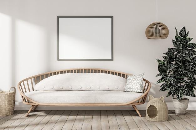 Illustration 3d de salon en bois moderne élégant