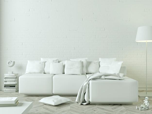 Illustration 3d. salon moderne avec canapé blanc. peinture vierge blanche sur le mur. maquette affiche.