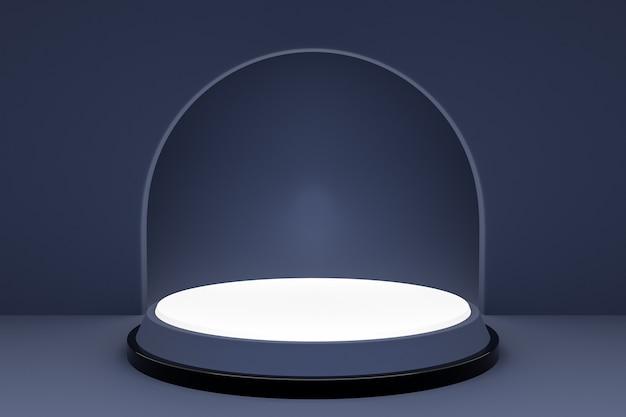 Illustration 3d d'une scène d'un cercle avec arc rond à l'arrière sur un fond gris.