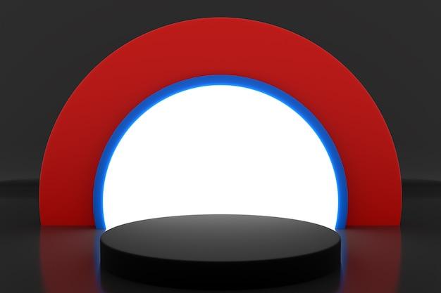 Illustration 3d d'une scène d'un cercle avec arc rond à l'arrière sur fond noir.