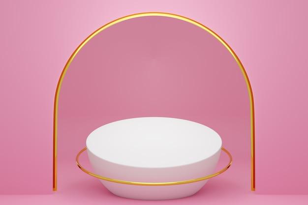 Illustration 3d d'une scène d'un cercle avec arc rond à l'arrière sur fond rose.