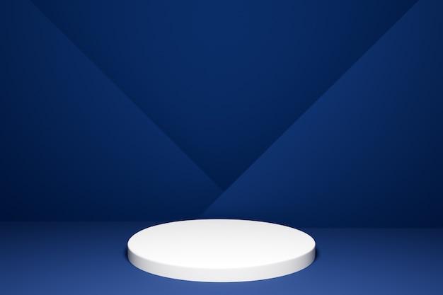Illustration 3d d'une scène d'un cercle sur un fond bleu. un gros plan d'un piédestal blanc rond blanc.