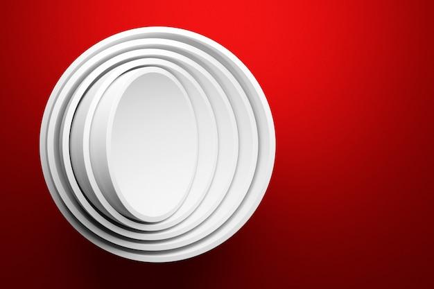 Illustration 3d d'une scène d'un cercle sur fond rouge.