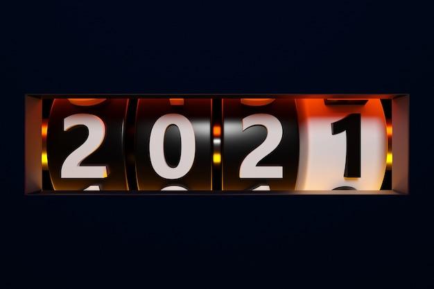 Illustration 3d signe ou symbole début 2021, forme rectangulaire noire. illustration du symbole de la nouvelle année. conversion du calendrier interactif
