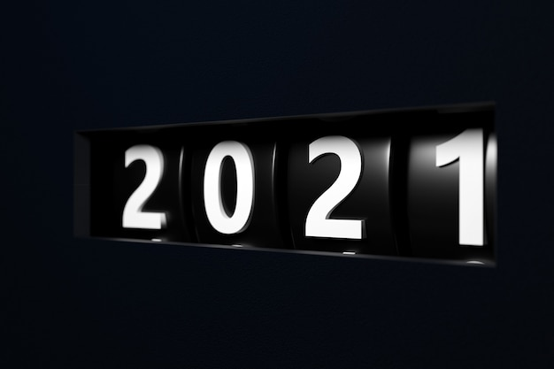 Illustration 3d signe ou symbole début 2021, forme rectangulaire noire. illustration du symbole de la nouvelle année.