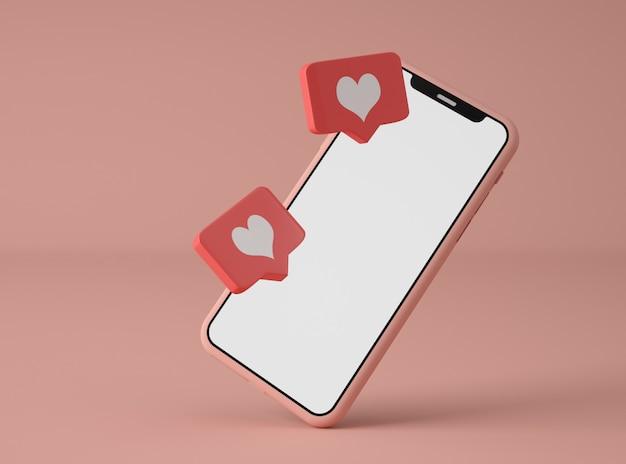 Illustration 3d. smartphone avec notification sur les réseaux sociaux.
