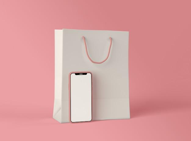 Illustration 3d. smartphone avec sac à provisions.