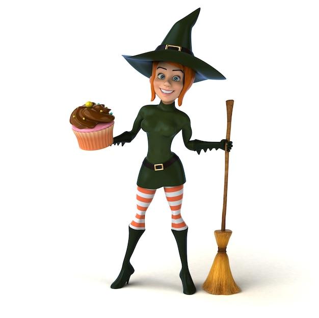 Illustration 3d de sorcière rousse