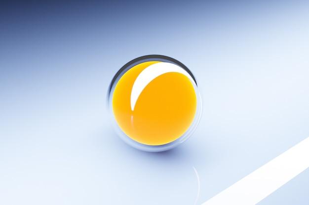 Illustration 3d d'une sphère jaune sur fond bleu.