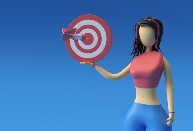 Illustration 3d de standing woman holding target marketing concept, 3d render design.