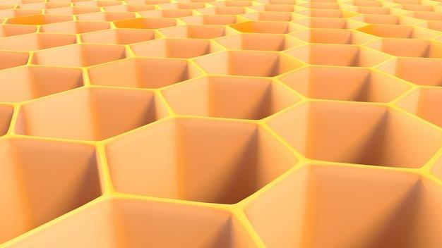 Illustration 3d de la structure hexagonale abstraite en nid d'abeille.