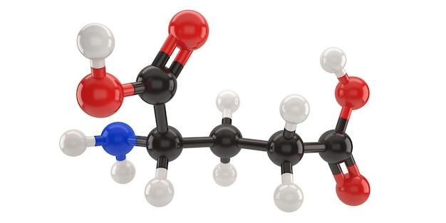 Illustration 3d de structure de molécule d'acide glutamique avec un tracé de détourage