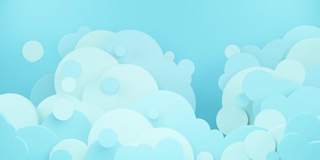 Illustration 3d de style de coupe de papier de ciel bleu vif et de nuages