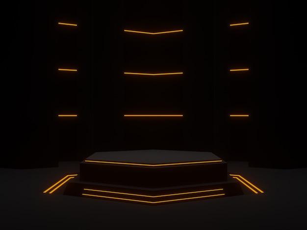 Illustration 3d. support futuriste noir avec néons. podium scientifique hexagonal.