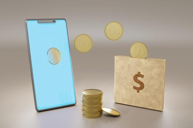 Illustration 3d. transfert d'argent en ligne, paiements mobiles. concept avec smartphone et portefeuille, peut être utilisé pour la page de destination, le modèle, l'interface utilisateur, le web, l'application mobile, l'affiche, la bannière, le dépliant